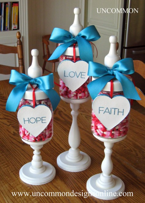 Faith Hope and Love Valentine Apothecary Jars