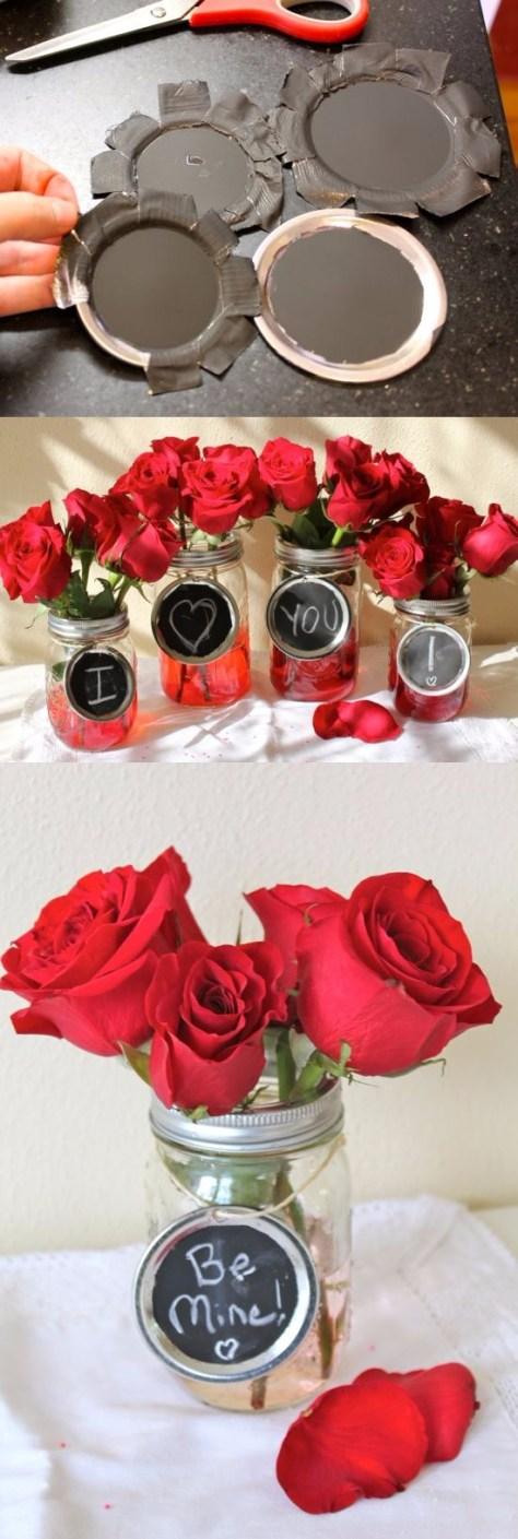 Mason Jar Valentine Chalkboard Vases Tutorial
