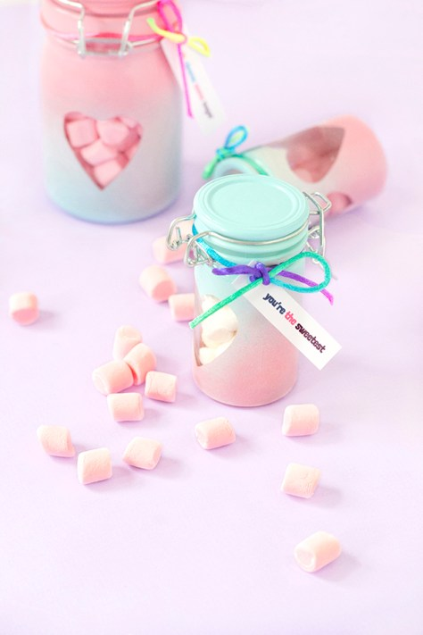 Ombre Heart Jars Filled By Candy