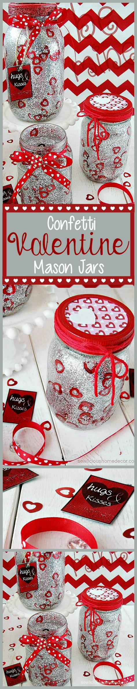Red Valentine Jars with Glitter and Confetti Tutorial