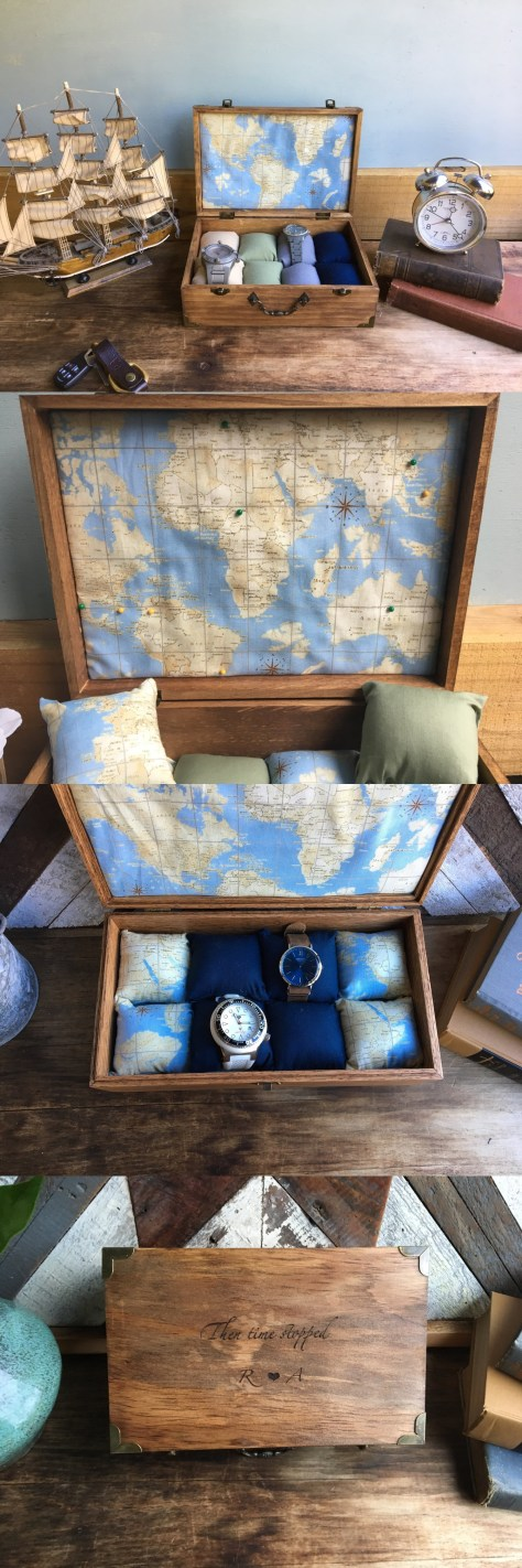 Watch Box With Global Map