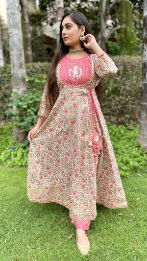 Beige Pink Angrakha Set