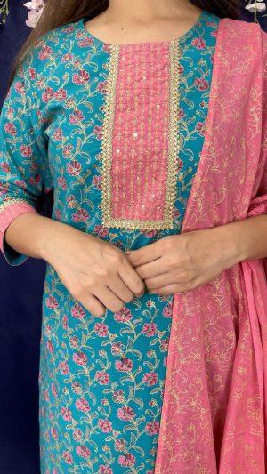 Teal Pink Foil Suit
