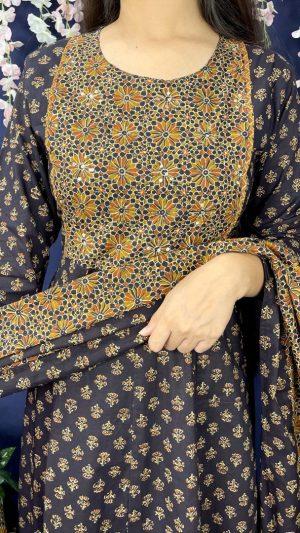 Blue Ajrakh Anarkali Suit