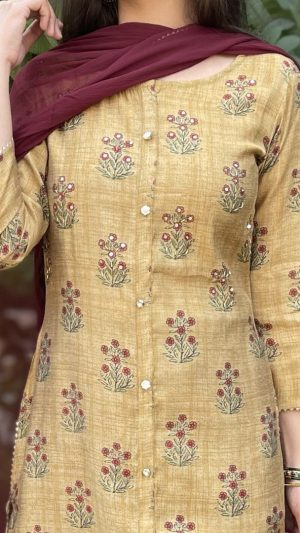 Mustard Chanderi Suit