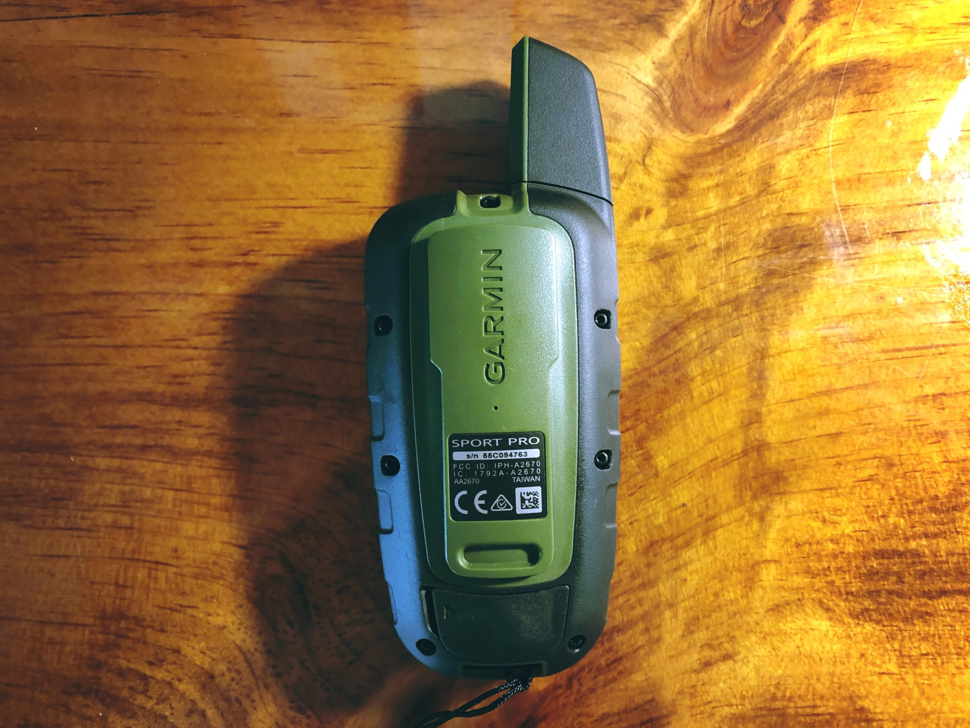 photo of garmin sport pro transmitter back