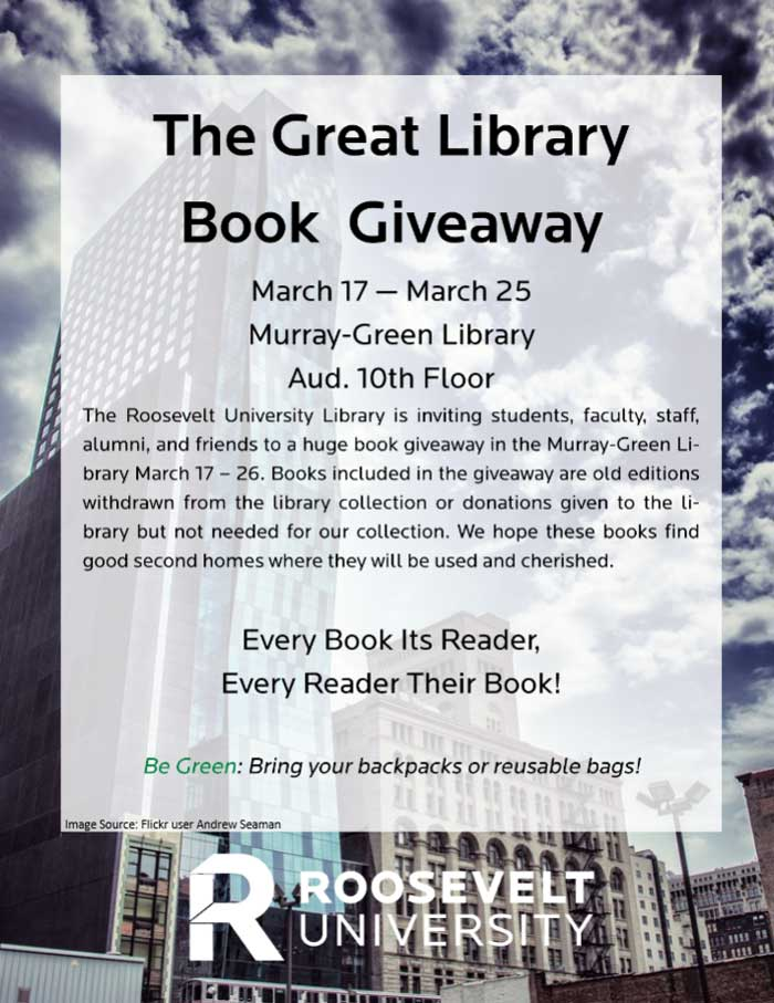 submitted roosevelt university library book giveaway flyer ad lib