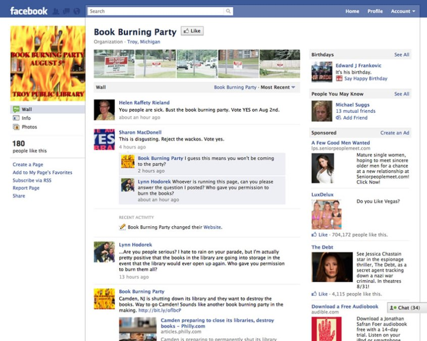 Book Burning Facebook Screenshot