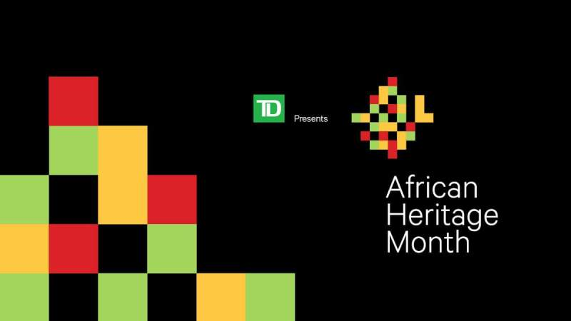 a promotional image for African Heritage Month at Halifax Public Libraries. It uses an alternative colour scheme.