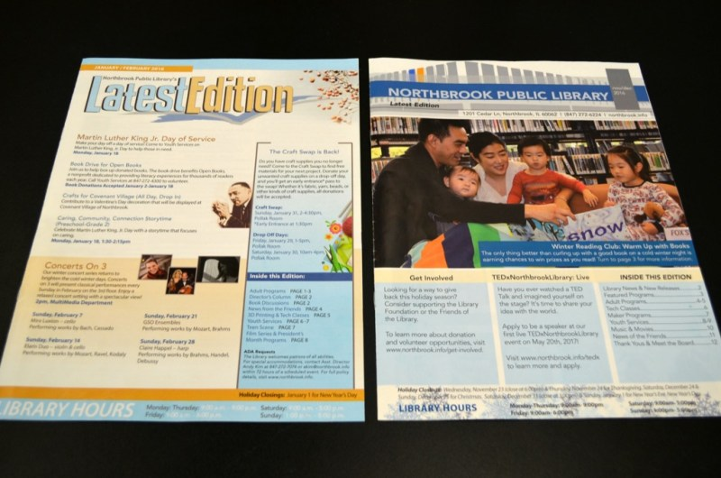 Image features two covers of the library newsletter