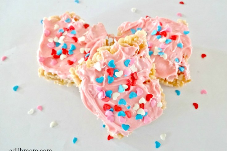 Rice Krispie Treats are a quick and easy treat to make. I added strawberry frosting to the mixture to give it a hint of strawberry flavor. These are a great treat for the kids for Valentines Day. Frost them and add sprinkles or keep them plain. Either way they will be a hit.