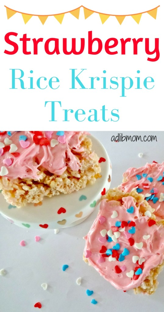 Rice Krispie Treats are a quick and easy treat to make. I added strawberry frosting to the mixture to give it a hint of strawberry flavor. These are a great treat for the kids for Valentines Day. Frost them and add sprinkles or keep them plain. Either way they will be a hit. #valentinesday #treat
