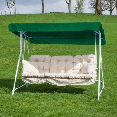White Swing Chair Uk Leather Mid Century Garden Patio 3 Seater Seat Hammock With