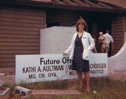 Aultman in her first year of private practice, outside her office, which was under construction. Kathi Aultman