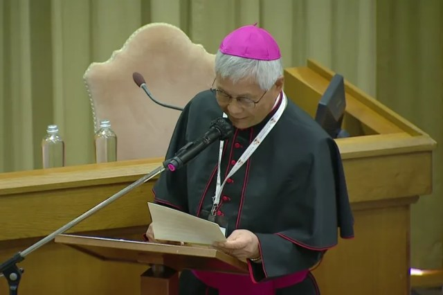 Archbishop Lazarus You Heung-sik, the prefect of the Congregation for the Clergy, speaks at the Vatican's New Synod Hall, Oct. 9, 2021. Screenshot from Vatican News YouTube channel.