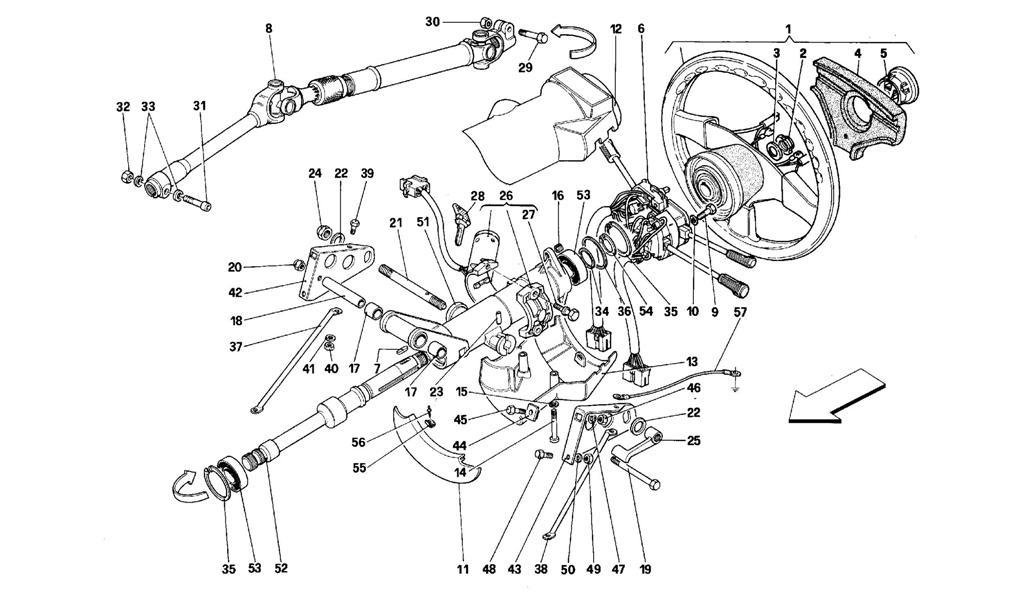 Ferrari 512 TR, 512 M, Steering Column Shaft Complete