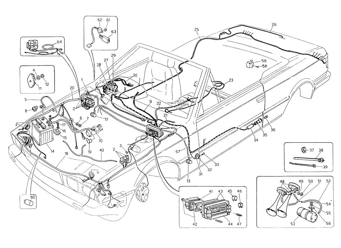 hight resolution of diagram wiring harness and electrical components l h steering 059 ferrparts