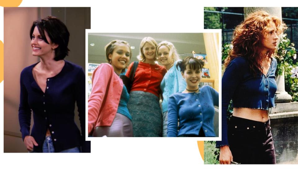 """Montagem com três fotos dispostas uma ao lado da outra em um fundo branco. Da esquerda para a direita, foto 1: a personagem de Friends Monica Geller posa sorrindo em frente a uma porta. O look é composto por um cardigan azul-marinho usado como blusa, com os primeiros dois botões e os três últimos abertos. Foto 2: quatro integrantes do elenco do filme """"Nunca fui beijada"""", posam para a foto. Da esquerda para a direita, a primeira menina veste um cardigan rosa com regata azul; a segunda um cardigan vermelho fechado com saia azul-marinho; a terceira com cardigan azul claro e camiseta na mesma cor; a quarta com cardigan azul royal usado com todos os botões fechados. Na foto 3, Julia Roberts, em cena do filme """"O casamento do meu melhor amigo:"""", está em um jardim e olha para a frente com cara séria. O look é composto por cardigan cropped azul marinho usado fechado, jeans de cintura no lugar em tom escuro. Uma faixa da barriga e umbigo ficam à mostra."""