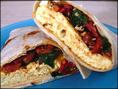 Spinach, Tomato, Feta 'n Egg Wrap Attack!