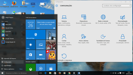 Configurações de rede e internet no Windows 10