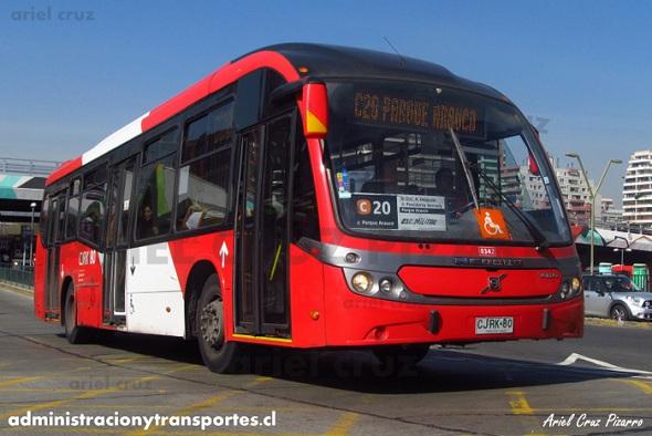 El debut de los buses Neobus Mega BRT de Transantiago
