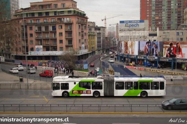 Los buses articulados de Transantiago