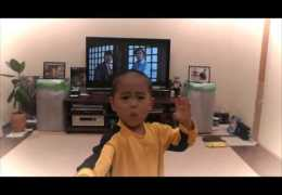 My son(5year old) acting Bruce Lee's nunchaku scene