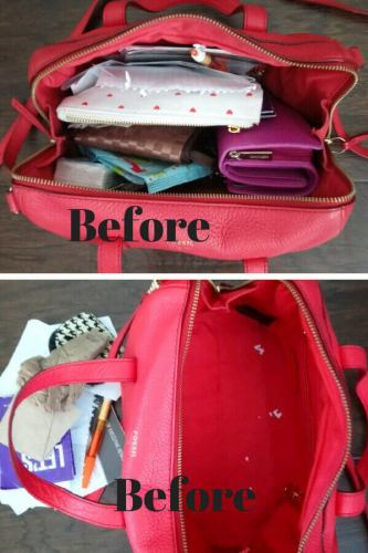 Declutter and organize purse, clean out purse