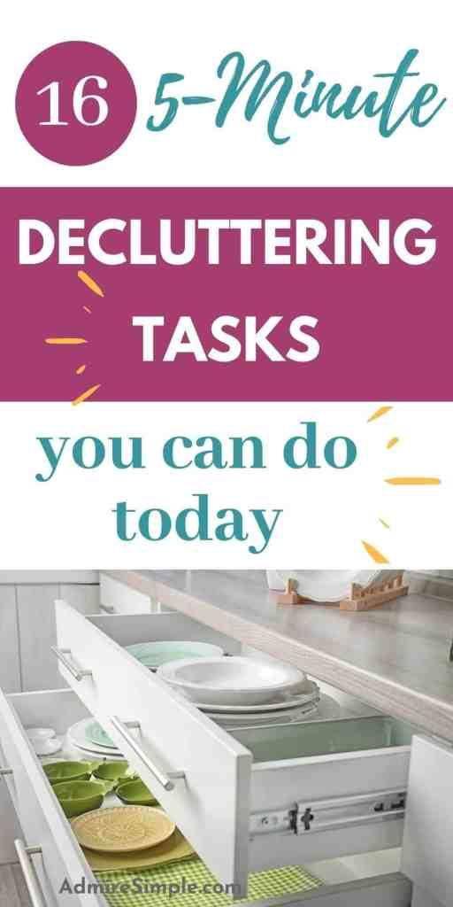 5-minute decluttering tasks, declutter your home, decluttering habits, daily decluttering routine