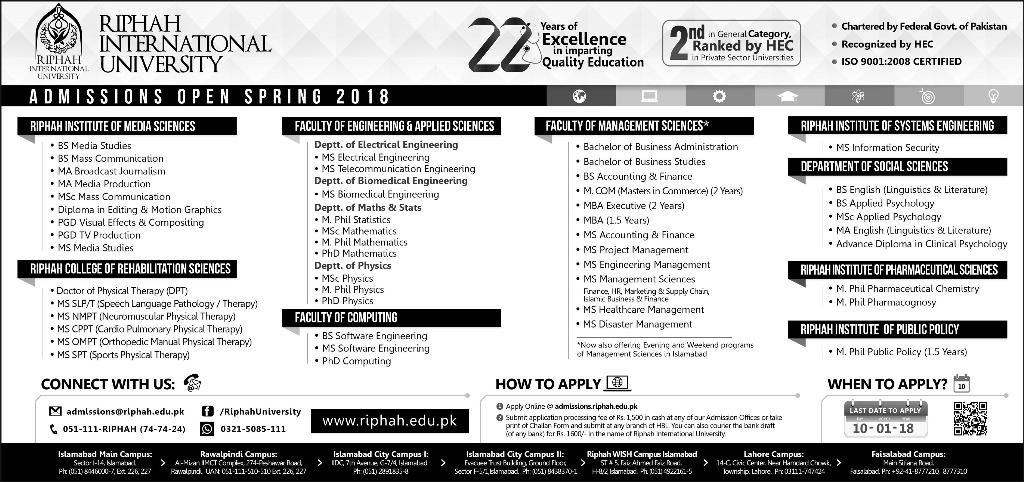 Admission Open in Riphah International University