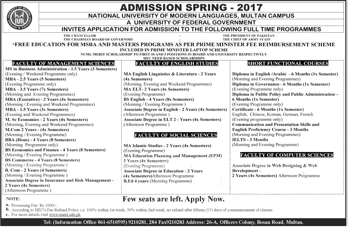 Admission Open in National University of Modern Languages