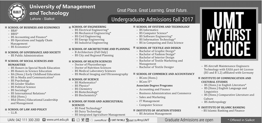 Admission Open in University of Lahore 09 July 2017