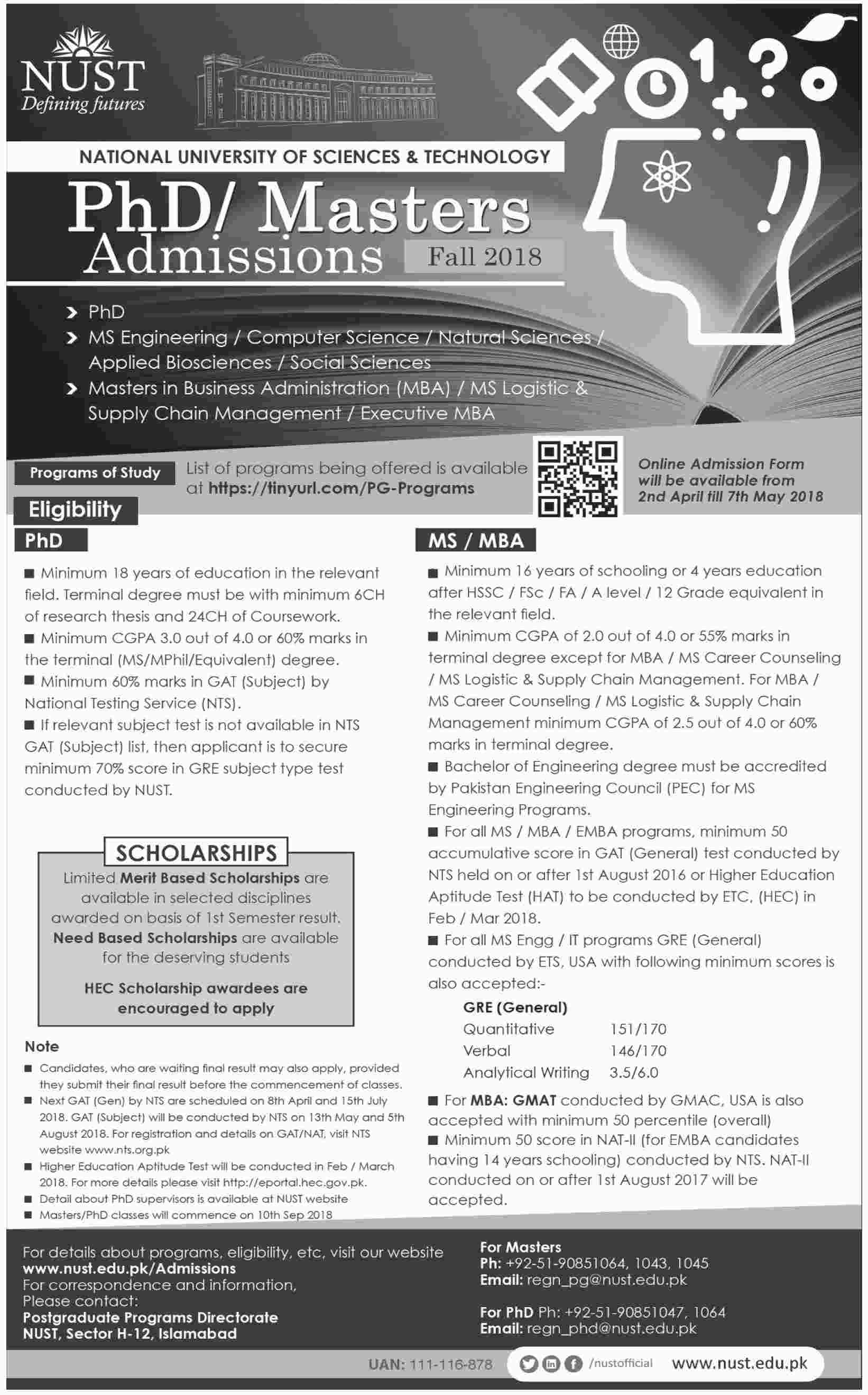Nust University Ms Mba Emba Admissions 2018 Application