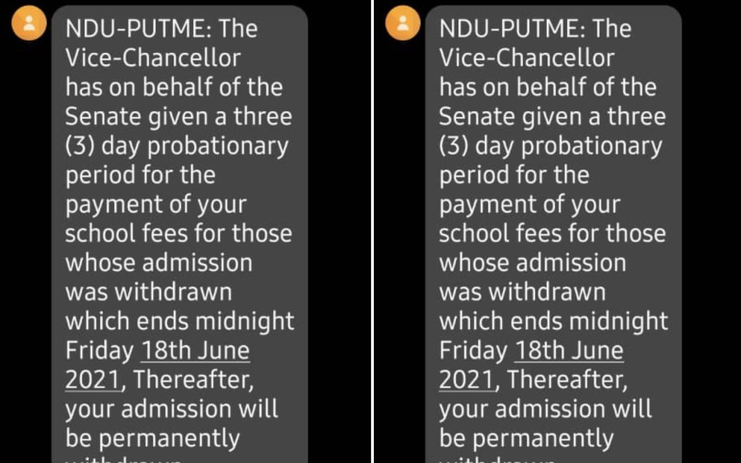 Withdrawn Admissions Restored as NDU Grants 3 Days Grace
