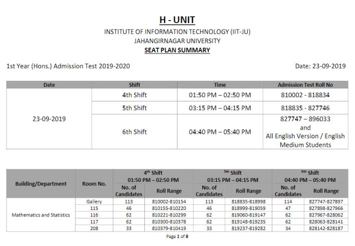 ju h unit seat plan