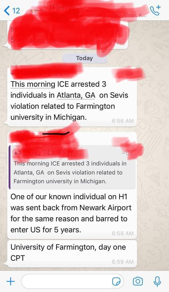 university of farmington ice raid arrest f1 visa students