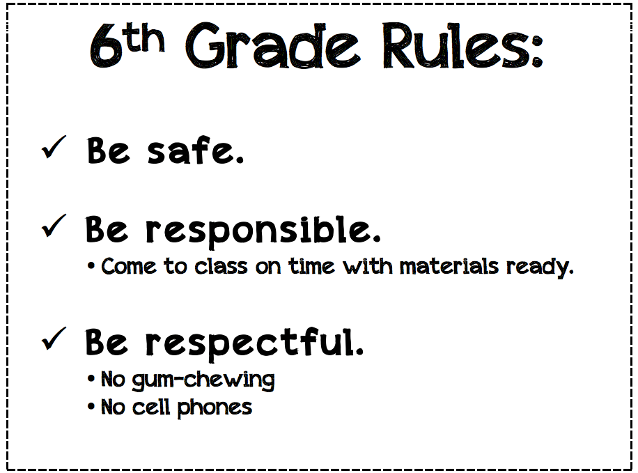 Here are our shared 6th grade classroom rules: