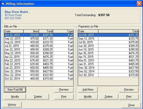 Fuel Customer Bills-Pyts screen