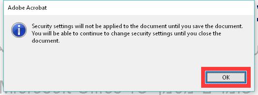 הודעה על כניסת שינויים לתוקף לאחר שמירת המסמך