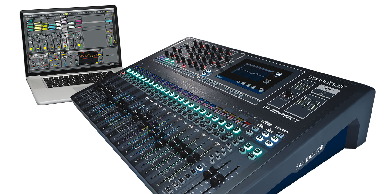 hight resolution of 40 input digital mixing console and 32 in 32 out usb interface and ipad control