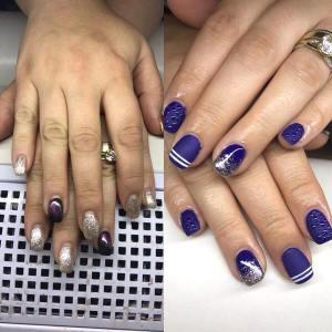modele unghii cu albastru