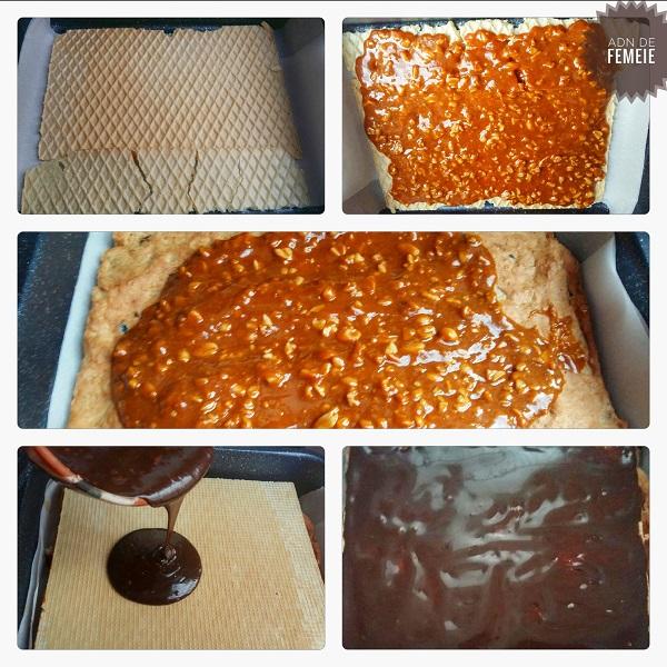 Asamblare napolitane snickers sau prajitura crocanta cu caramel