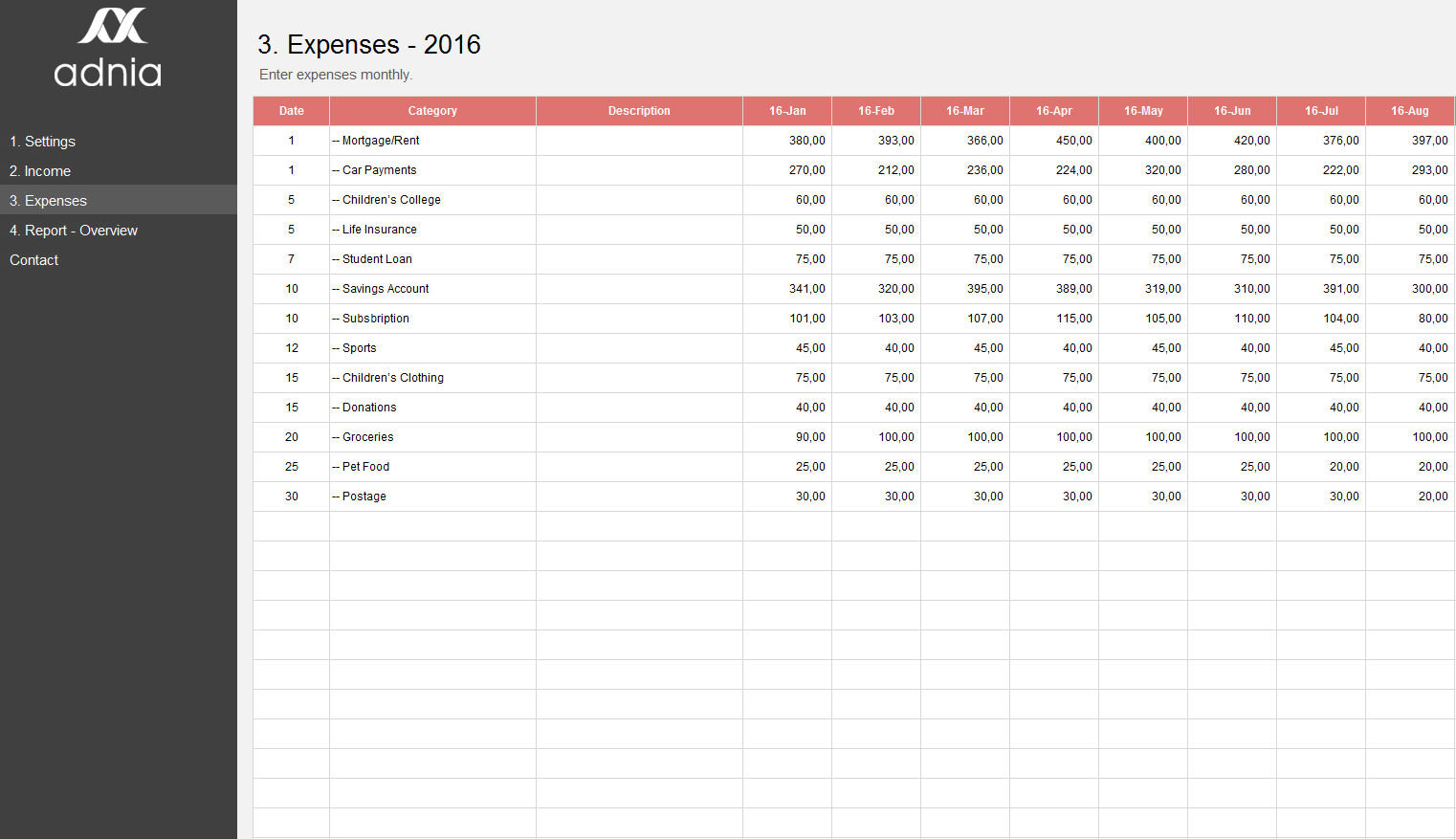 personal budget templates excel