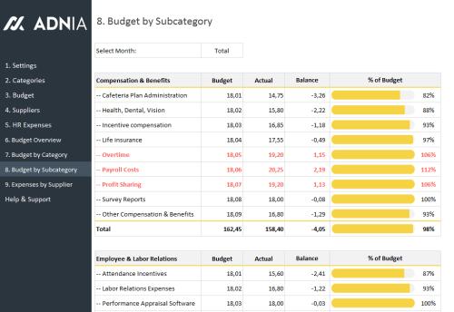 HR Budget Template - HR Budget Sucategory