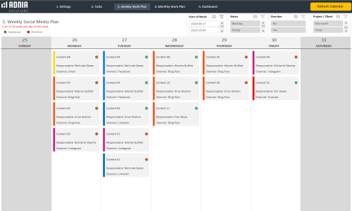 Social Media Calendar Template - Weekly Social Media Plan