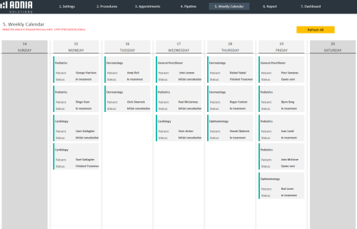 Medical Appointment Control Template - Weekly Calendar