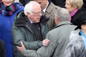 WASHINGTON, DC - JANUARY 20: Senator Bernie Sanders (D-VT) greets guests on the West Front of the U.S. Capitol on January 20, 2017 in Washington, DC. In today's inauguration ceremony Donald J. Trump becomes the 45th president of the United States.   Joe Raedle/Getty Images/AFP