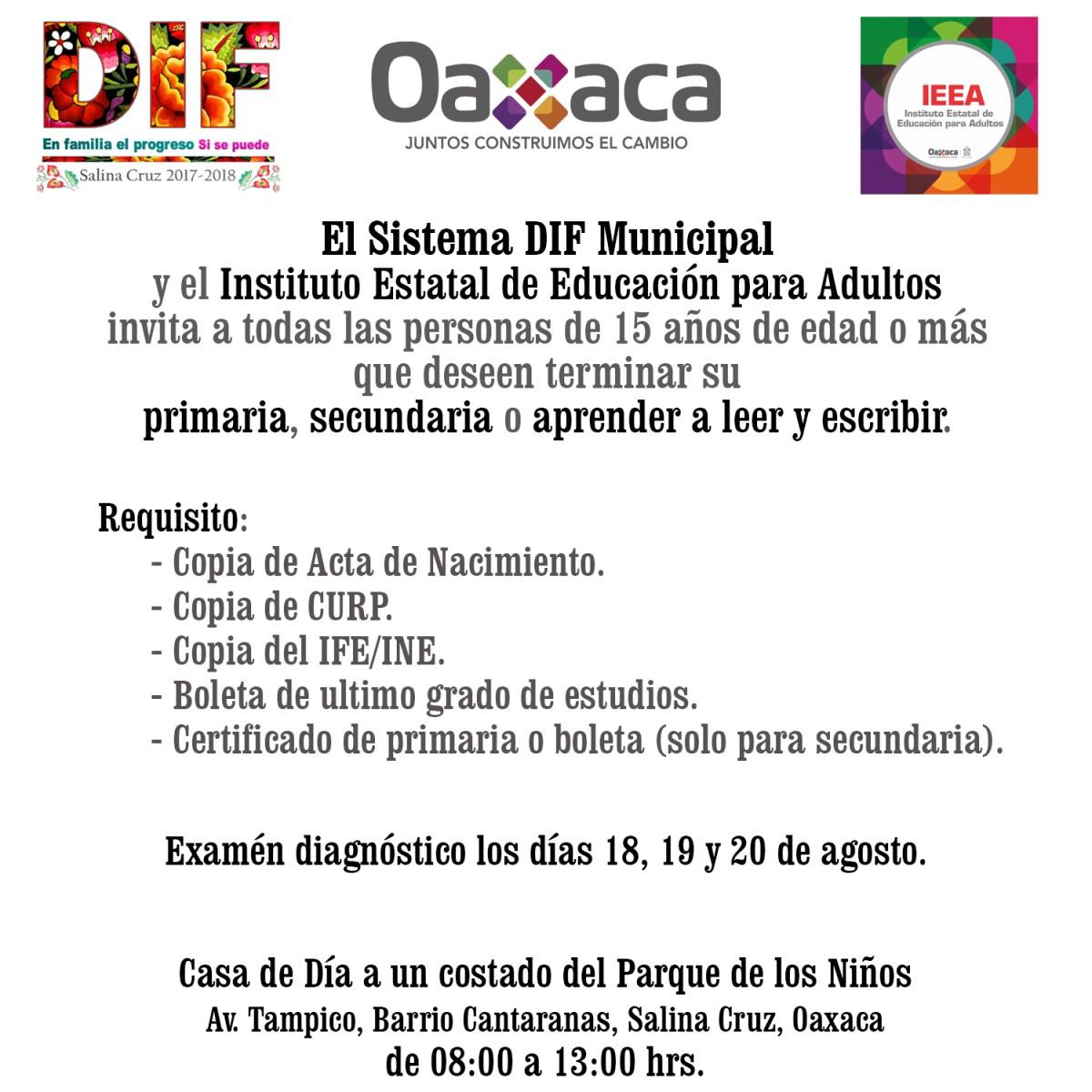 DIF municipal de Salina Cruz y el IEEA invitan a terminar estudios ...