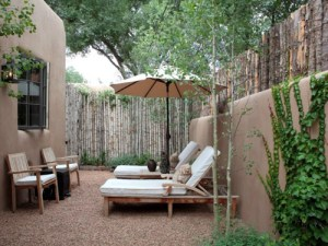 Rear Courtyard at Adobe Oasis in Santa Fe (Prior to 2014 Redesign)