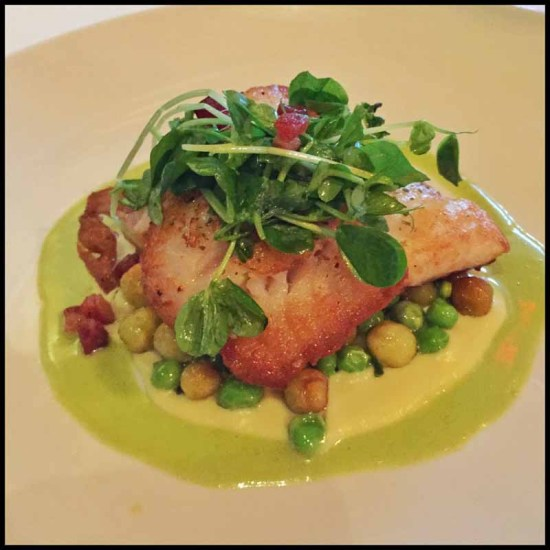 Arroyo Vino: Petrale Sole Meunière spring garlic, english peas, lardons, hand rolled cicione pasta, local oyster mushrooms, beurre blanc